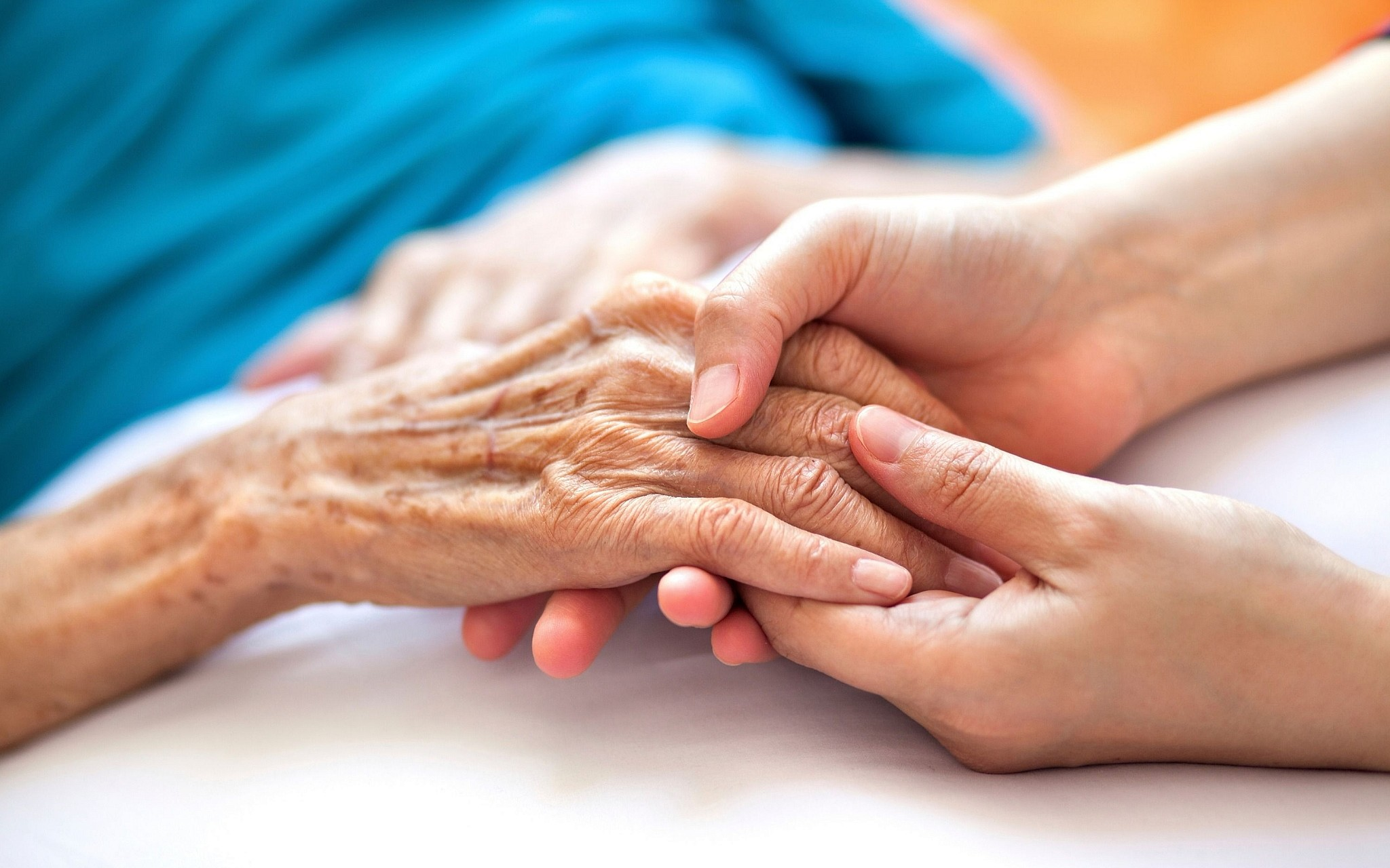 Elderly hands being carefully held by another. Know the signs of elder financial abuse blog post image.
