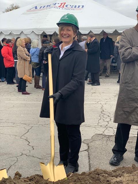 American 1 Credit Union's CEO breaks ground fro new American 1 Event Center in Jackson, Michigan.