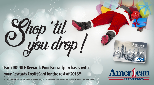 Earn double the points with American One's rewards card from now until December 31, 2018!